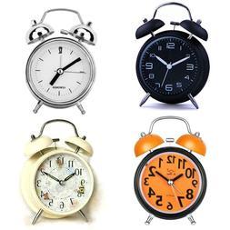 Silent Analog Alarm Clock Vintage Retro Classic Night Light