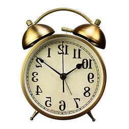 xihaiying 4 inch Silent Gold Clock for Desk,Small Decorative
