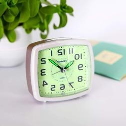 Green Silent Non Ticking Analog Alarm Clock with Nightlight