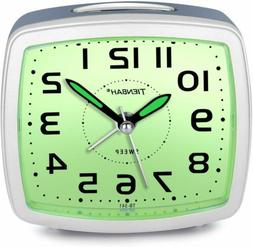Silent Non Ticking Analog Alarm Clock with Nightlight Snooze