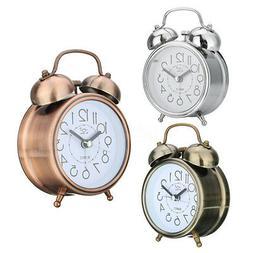 Night Light Alarm Clock Retro Round Metal For Home Office Ro