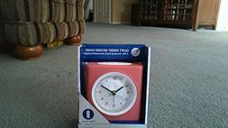 Equity Silent Sweep Analog Alarm Clock, Pink