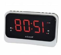 Westclox Silver Digital FM Clock Radio with Dual Alarm Natur
