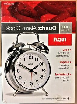 RCA Silver, Quartz, Analog Alarm Clock with Large Display &