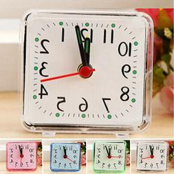 Small Alarm Clock Square Bed Compact Travel Trip Table Decor