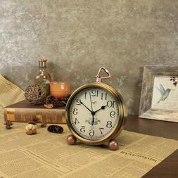 Small Antique Clock Vintage Desk Arabic Mini Silent Non Tick