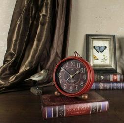 Small Antique Clock Vintage Desk Arabic Table Silent Non Tic