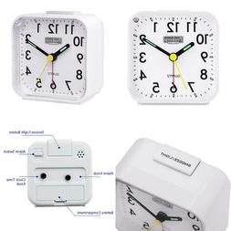Peakeep Small Battery Operated Analog Travel Alarm Clock Sil