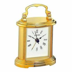 SEIKO - SMALL GOLD-TONE CARRIAGE ALARM CLOCK QHE109GLH