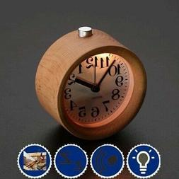 Small Round Alarm Clock Classic Wood Silent Night Light Snoo