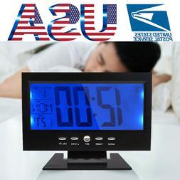 Large LED Digital Alarm Snooze Clock Voice Control Time Disp