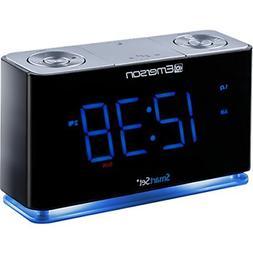 SmartSet Alarm Clock Radio with Bluetooth Speaker, USB Charg