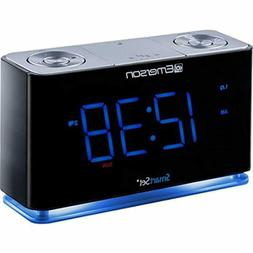 SmartSet Alarm Clock Radio with Bluetooth Speaker, USB Charg
