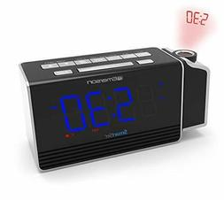 Emerson SmartSet Projection Alarm Clock Radio with USB Charg