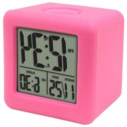 Soft Pink 3-1/4 in. x 3-1/4 in. Cube LCD Digital Alarm Clock