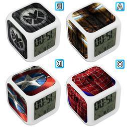 Spider Iron Man Captain American Shield Digital LED Clock Mu