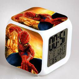 Spider Man LED 7 Color Flash Kids Bedroom Night Light Digita