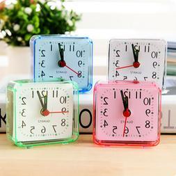 Square Small Bed Compact Travel Quartz Beep Alarm Clock Cute
