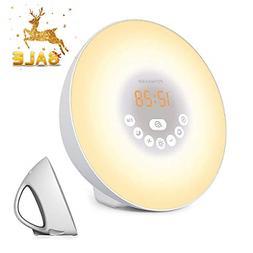 Sunrise Alarm Clock, Wake Up Light with 6 Nature Sounds, FM