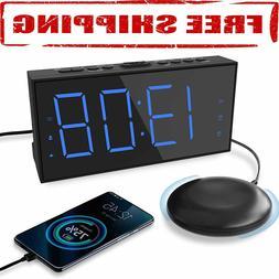 Super Extra Loud Digital Alarm Clock Bed Shaker Vibrating Fo