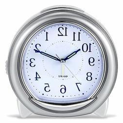 BonyTek Super Silent Desk Alarm Clock, Quartz Alarm Clock wi
