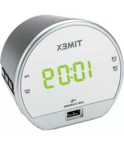 TIMEX T1212B Dual Alarm Clock with USB Charging And Battery