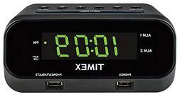 Timex T129B RediSet Dual Alarm Clock with Dual USB Charging