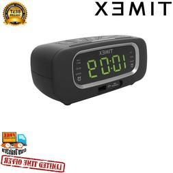 Timex T2351B FM Dual Alarm Clock Radio with USB Charging Por
