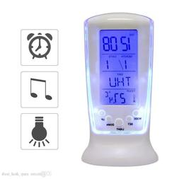 Table Alarm Clock Digital Backlight LED Display Snooze Therm