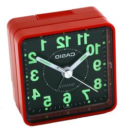 Casio TQ140-4D Black Dial Easy Reader Red Table Top Travel A