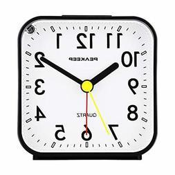 Peakeep Travel Alarm Clock Small Battery Operated Analog Sil