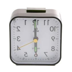 Travel Alarm Clock with Snooze and Light, No Ticking Analog
