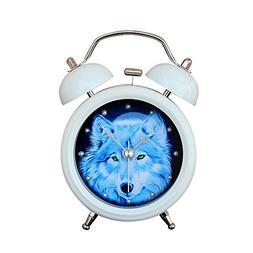 "Baidecor Twin Bell Alarm Clock with Nightlight Night Wolf 3"""