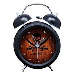 "Twin Bell Alarm Clock with Nightlight Pirate Skull Black 3"""