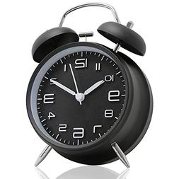 "Betus Non-Ticking 4"" Twin Bell Alarm Clock - Metal Frame 3D"