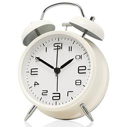 "Betus Non-Ticking 4"" Twin Bell Alarm Clock - Metal Frame 3D"