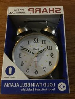 Sharp Twin Bell Alarm Clock  Back Light Battery Operated New