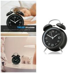 Twin Bell Alarm Clock Non Ticking Desk Top Clocks Backlight