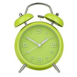 "Peakeep 4"" Twin Bell Green Alarm Clock, Battery Operated, Lo"