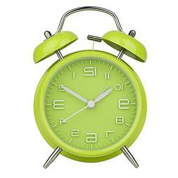 "Peakeep 4"" Twin Bell Green Alarm Clock, Battery Operated, Lo"