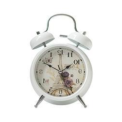 "Twin Bell Loud Alarm Clock Paris theme White Shell 4"""