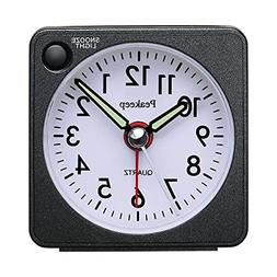 Ultra Small, Battery Travel Alarm Clock with Snooze and Ligh