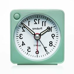 Peakeep Ultra Small, Battery Travel Alarm Clock with No Tick