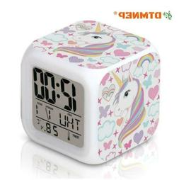 Unicorn Alarm Clock for Kids Girls Room, LED Digital Bedroom