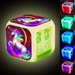 Unicorn Digital Alarm Clock LED Night Light Desk Clock Glowi