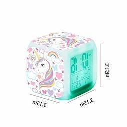 Unicorn Digital Alarm Clocks for Girls LED Night Glowing Cub