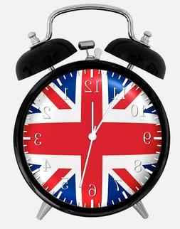 "Union Jack UK Flag Alarm Desk Clock 3.75"" Home or Office Dec"