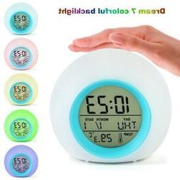 US 7LED Color Change White Digital Alarm Clock Bedroom Home