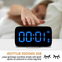 US Digital LED Alarm Clock Big Screen Snooze USB/Battery Pow