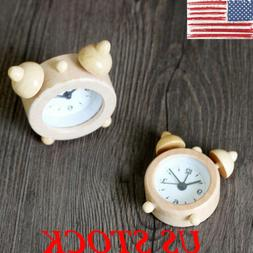 US Round Mini Analog Natural Wood Clock Desk Wooden Alarm Sn